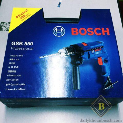 Hình ảnh thực tế của dòng máy khoan Bosch GSB 550 SET 100 món