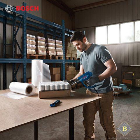 Máy thổi hơi nóng Bosch GHG 18-60 trong ứng dụng co màng bọc nilon